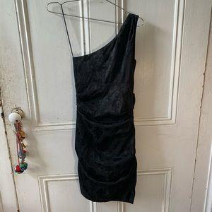 One shoulder Fleur de Lis dress